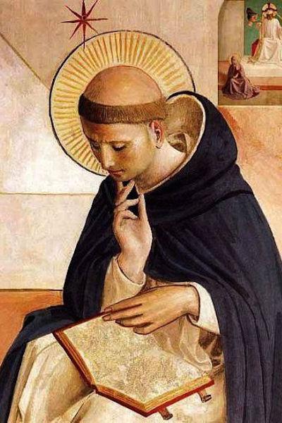 """Particolare dell'affresco """"Il Cristo deriso"""" del Beato Angelico, Museo di San Marco a Firenze, che ritrae San Domenico intento nella meditazione."""