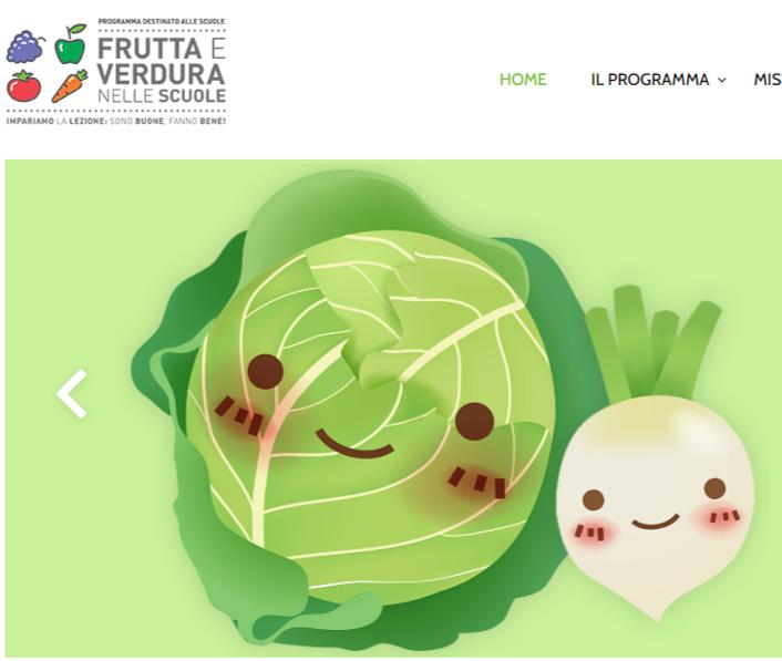 frutta e verdure nelle scuola